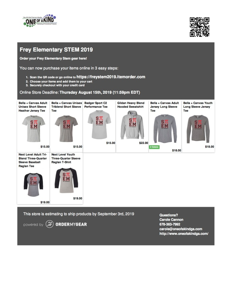 We are excited to present our new STEM t-shirt!  You can view the variety of t-shirt options and place your order at